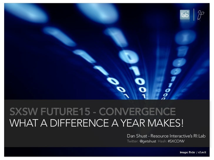 SXSW FUTURE15 - CONVERGENCEWHAT A DIFFERENCE A YEAR MAKES!                    Dan Shust - Resource Interactive's RI:Lab   ...