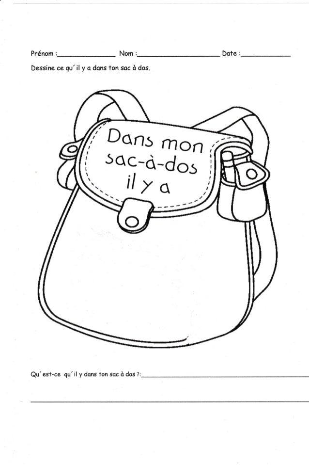 Dans mon sac à dos il y a...