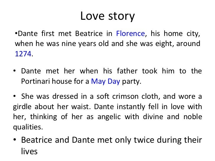 dante alighieri and the love for beatrice portinari as his inspiration It was in the name of this love that dante left his imprint on the dolce  see also works by dante alighieri  the story of his love for beatrice portinari,.