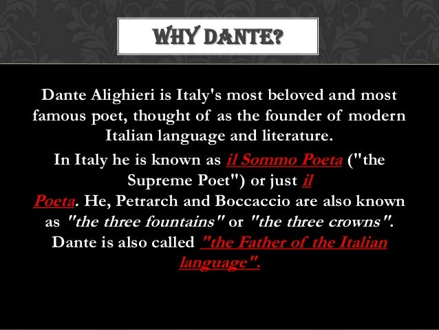 an introduction to the life of dante alighieri Dante alighieri (1265-1321) wrote his epic poem, the divine comedy, during the last thirteen years of his life (circa 1308-21), while in exile from his native florence there are three parts to this massive work: inferno, purgatory and paradise.