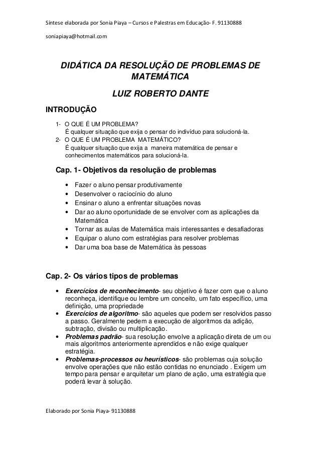 Dante Didatica Da Resolucao De Problemas De Matematica 1