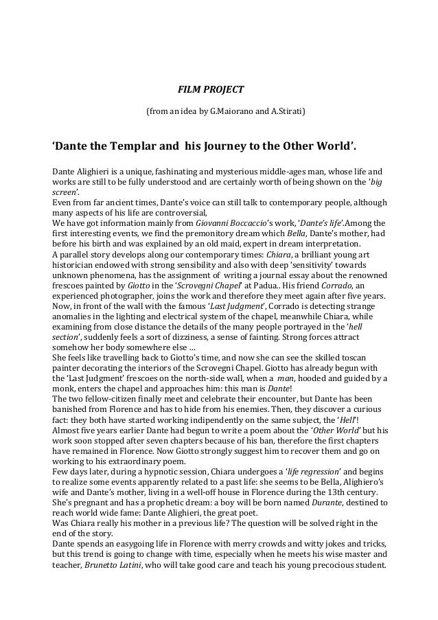 FILM PROJECT (from an idea by G.Maiorano and A.Stirati) 'Dante the Templar and his Journey to the Other World'. Dante Alig...