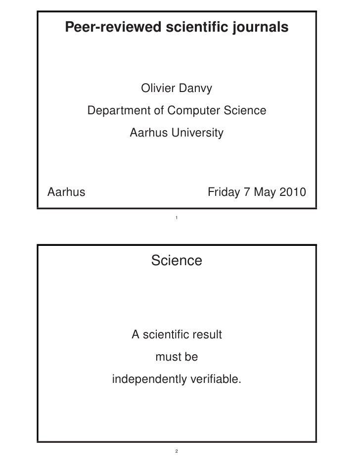 Peer-reviewed scientific journals                      Olivier Danvy          Department of Computer Science               ...