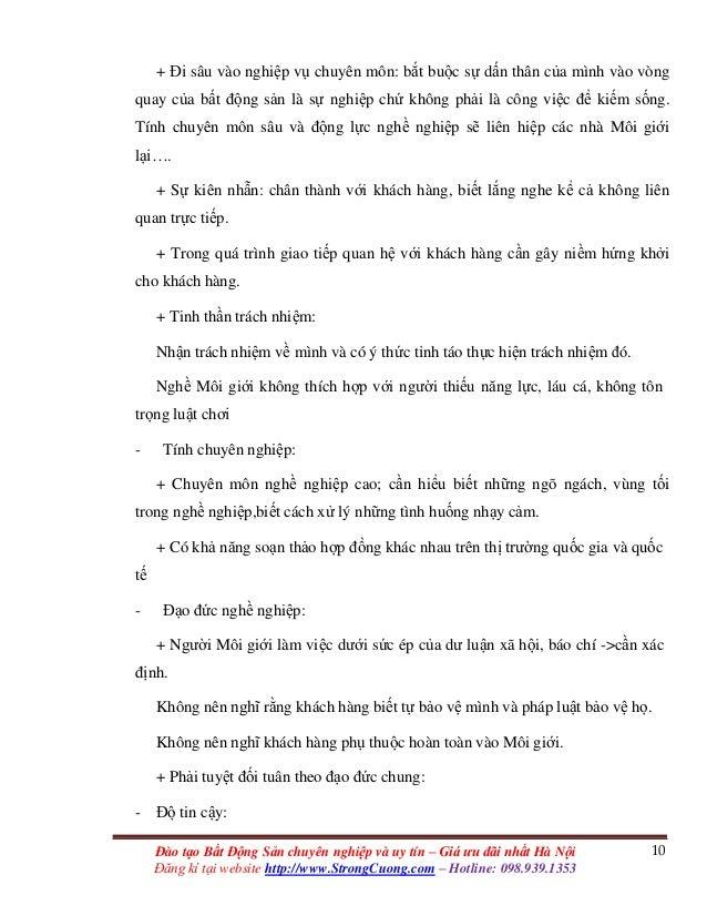 10Đào tạo Bất Động Sản chuyên nghiệp và uy tín – Giá ưu đãi nhất Hà Nội Đăng kí tại website http://www.StrongCuong.com – H...