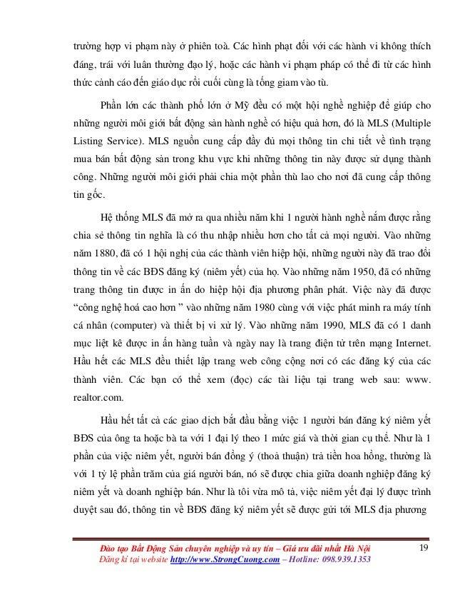 19Đào tạo Bất Động Sản chuyên nghiệp và uy tín – Giá ưu đãi nhất Hà Nội Đăng kí tại website http://www.StrongCuong.com – H...