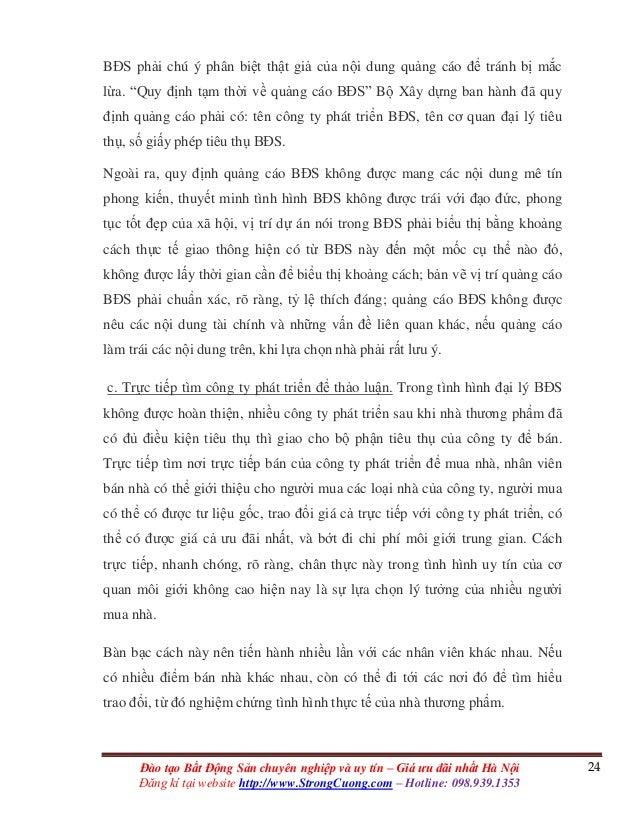 24Đào tạo Bất Động Sản chuyên nghiệp và uy tín – Giá ưu đãi nhất Hà Nội Đăng kí tại website http://www.StrongCuong.com – H...