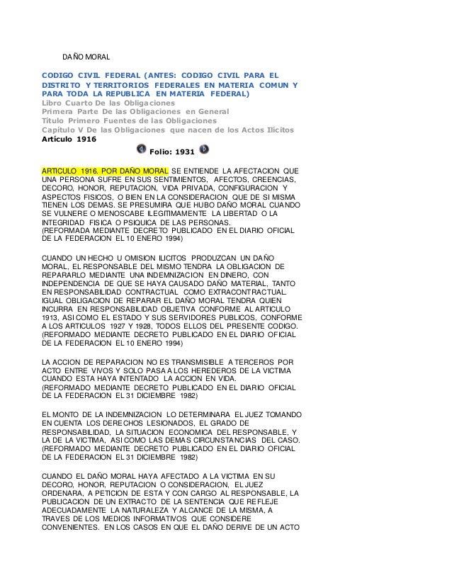 DAÑOMORAL CODIGO CIVIL FEDERAL (ANTES: CODIGO CIVIL PARA EL DISTRITO Y TERRITORIOS FEDERALES EN MATERIA COMUN Y PARA TODA ...