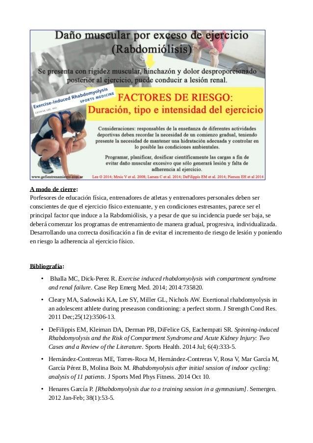Daño muscular por exceso de ejercicio