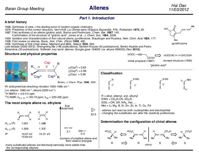 Hai Dao 11/03/2012Baran Group Meeting Allenes A brief history 1828: Synthesis of urea = the starting point of modern organ...