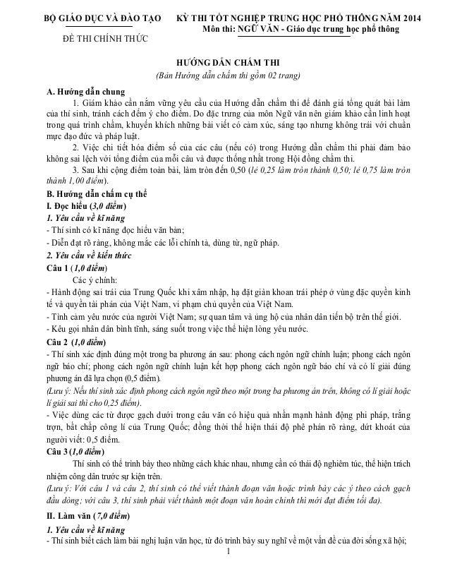 BỘ GIÁO DỤC VÀ ĐÀO TẠO ĐỀ THI CHÍNH THỨC KỲ THI TỐT NGHIỆP TRUNG HỌC PHỔ THÔNG NĂM 2014 Môn thi: NGỮ VĂN - Giáo dục trung ...