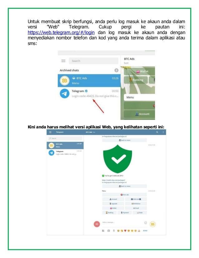 """Untuk membuat skrip berfungsi, anda perlu log masuk ke akaun anda dalam versi """"Web"""" Telegram. Cukup pergi ke pautan ini: h..."""
