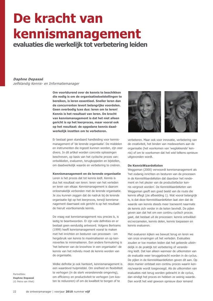 De kracht vankennismanagementevaluaties die werkelijk tot verbetering leidenDaphne Depassézelfstandig Kennis- en Informati...