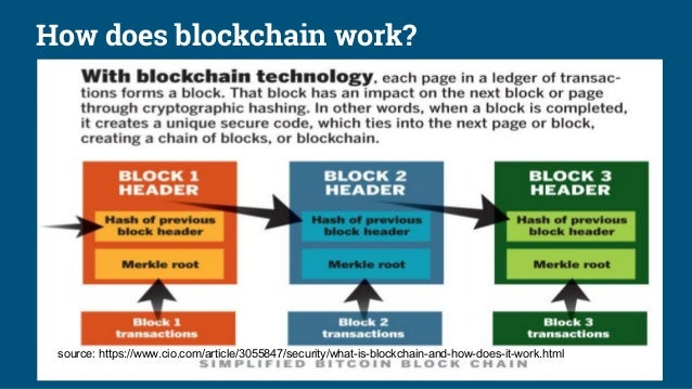 How does blockchain work? source: https://www.cio.com/article/3055847/security/what-is-blockchain-and-how-does-it-work.html