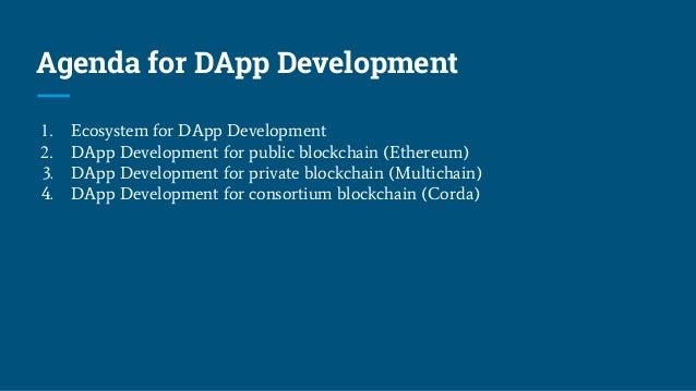 Agenda for DApp Development 1. Ecosystem for DApp Development 2. DApp Development for public blockchain (Ethereum) 3. DApp...