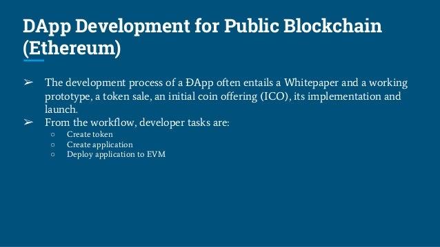 DApp Development for Public Blockchain (Ethereum) ➢ The development process of a ÐApp often entails a Whitepaper and a wor...