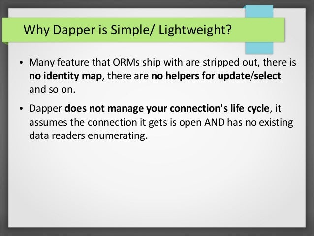 Object Relational Mapping with Dapper (Micro ORM)