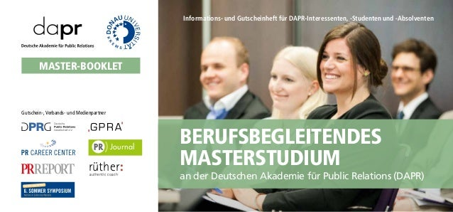 Gutschein-,Verbands- und Medienpartner Berufsbegleitendes Masterstudium Master-Booklet an der Deutschen Akademie für Publi...