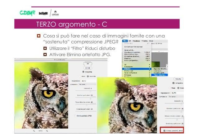 """¤ Cosa si può fare nel caso di immagini fornite con una """"sostenuta"""" compressione JPEG? ¤ Utilizzare il """"Filtro"""" Riduci..."""