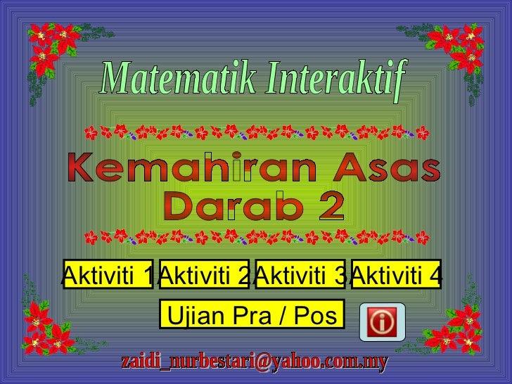 Kemahiran Asas  Darab 2 Matematik Interaktif [email_address] Ujian Pra / Pos Aktiviti 1 Aktiviti 2 Aktiviti 3 Aktiviti 4