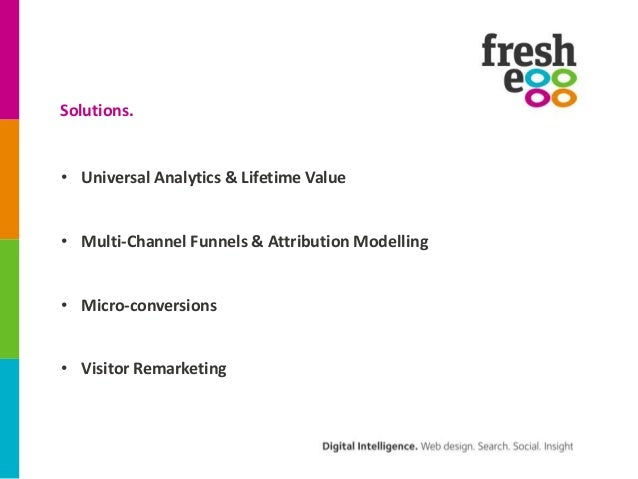 Solutions.• Universal Analytics & Lifetime Value• Multi-Channel Funnels & Attribution Modelling• Micro-conversions• Visito...