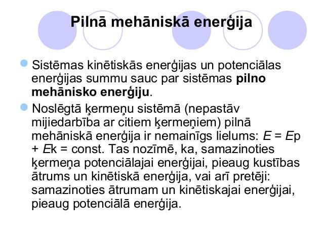 Pilnā mehāniskā enerģijaSistēmas kinētiskās enerģijas un potenciālas enerģijas summu sauc par sistēmas pilno mehānisko en...