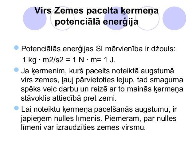 Virs Zemes pacelta ķermeņa           potenciālā enerģijaPotenciālās enerģijas SI mērvienība ir džouls:  1 kg · m2/s2 = 1 ...