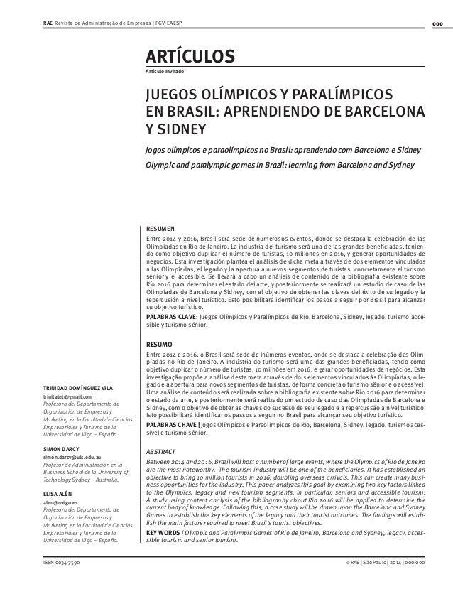000  RAE-Revista de Administração de Empresas | FGV-EAESP  ARTÍCULOS Artículo Invitado  JUEGOS OLÍMPICOS Y PARALÍMPICOS EN...