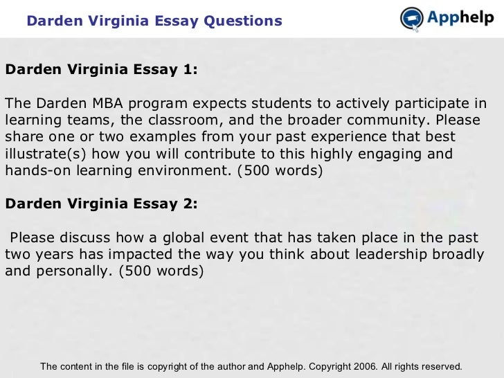 Darden virginia essays