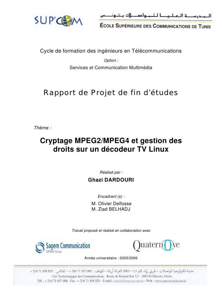 Cycle de formation des ingénieurs en Télécommunications                                 Option :             Services et C...