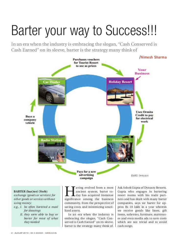 """Barter your way to Success!!!In an era when the industry is embracing the slogan, """"Cash Conserved isCash Earned"""" on its sl..."""