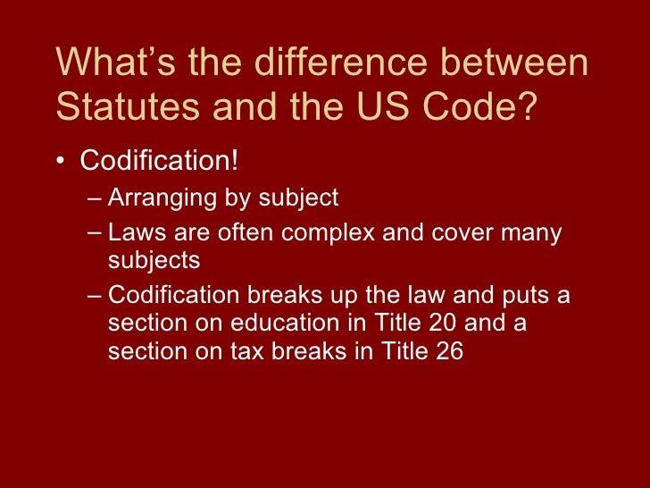 What's the difference between Statutes and the US Code? <ul><li>Codification! </li></ul><ul><ul><li>Arranging by subject <...