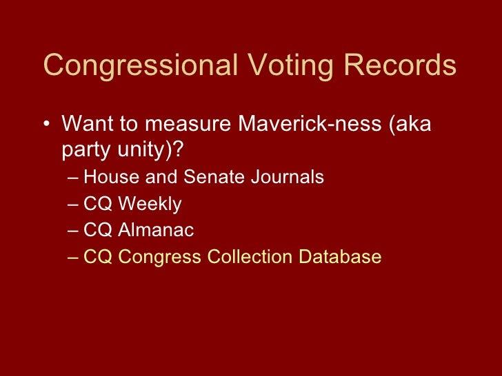 Congressional Voting Records <ul><li>Want to measure Maverick-ness (aka party unity)? </li></ul><ul><ul><li>House and Sena...