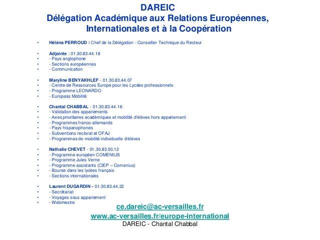 DAREIC    Délégation Académique aux Relations Européennes,             Internationales et à la Coopération•   Héléna PERRO...