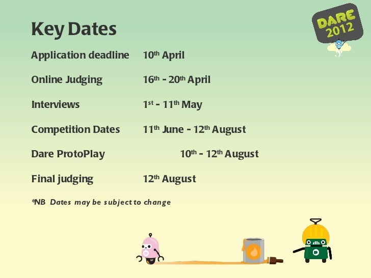 Application deadline 10 th  April  Online Judging 16 th  - 20 th  April Interviews 1 st  - 11 th  May Competition Dates  1...