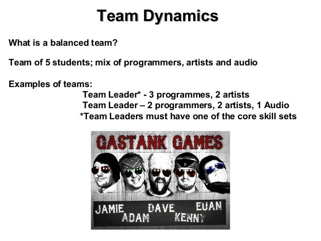 Team DynamicsWhat is a balanced team?Team of 5 students; mix of programmers, artists and audioExamples of teams:          ...