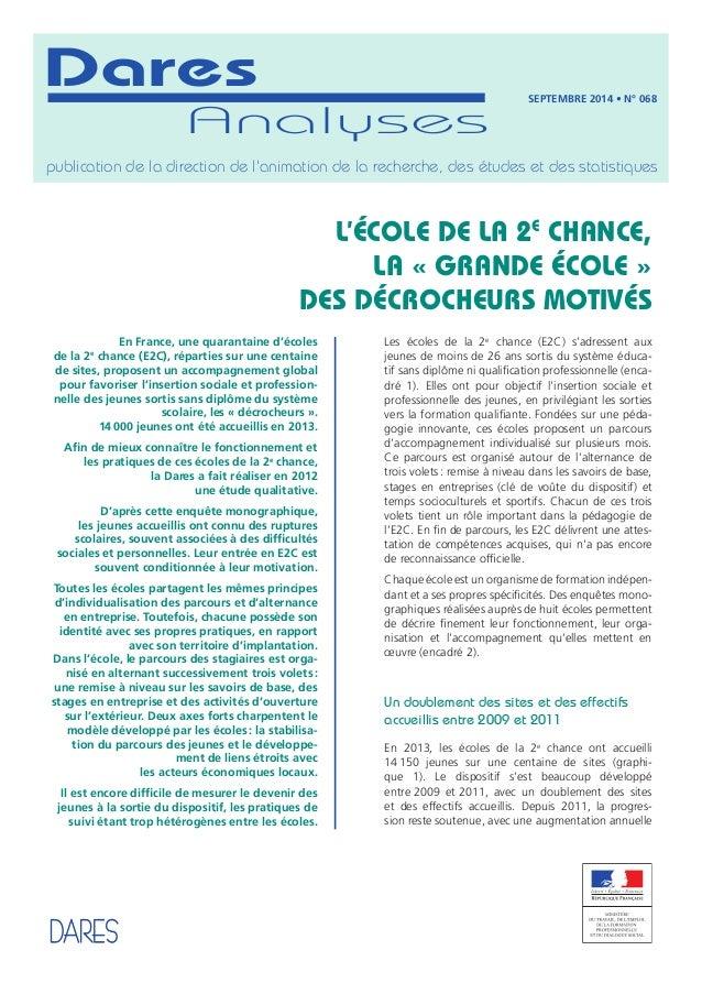 Dares  Analyses  publication de la direction de l'animation de la recherche, des études et des statistiques  L'École de la...
