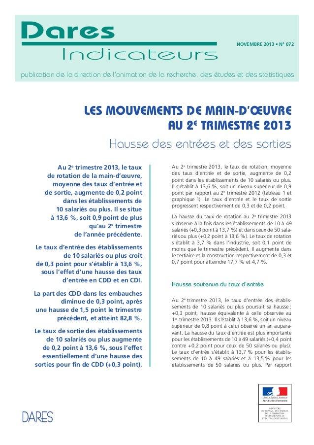 Dares Indicateurs  NOVEMBRE 2013 • N° 072  publication de la direction de l'animation de la recherche, des études et des s...