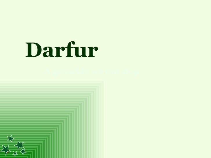 Darfur A genocide we can stop