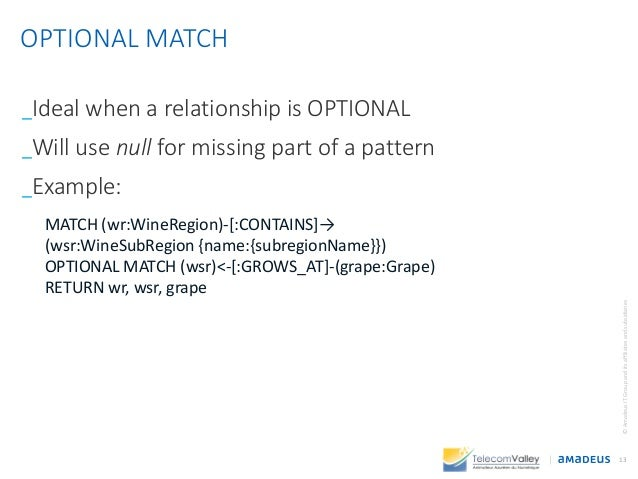 _Ideal when a relationship is OPTIONAL _Will use null for missing part of a pattern _Example: 13 ©AmadeusITGroupanditsaffi...