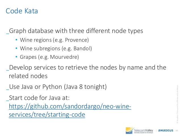 _Graph database with three different node types • Wine regions (e.g. Provence) • Wine subregions (e.g. Bandol) • Grapes (e...