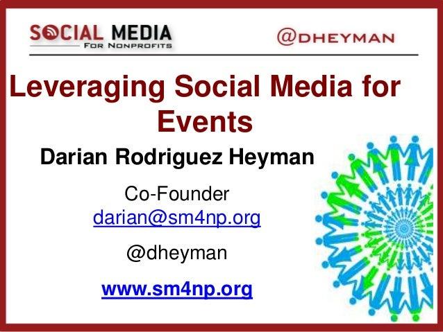 Leveraging Social Media forEventsDarian Rodriguez HeymanCo-Founderdarian@sm4np.org@dheymanwww.sm4np.org