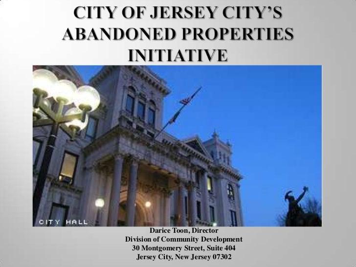 Darice Toon, DirectorDivision of Community Development  30 Montgomery Street, Suite 404   Jersey City, New Jersey 07302