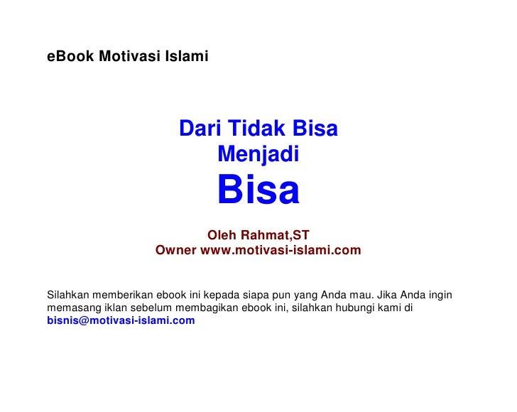 eBook Motivasi Islami                             Dari Tidak Bisa                             Menjadi                     ...