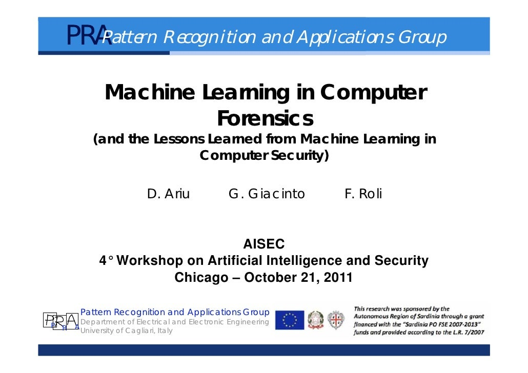 PRA     Pattern Recognition and Applications Group             Machine Learning in Computer                      Forensics...