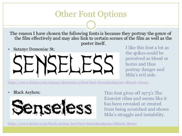 Dark arts productions typography for 'senseless'