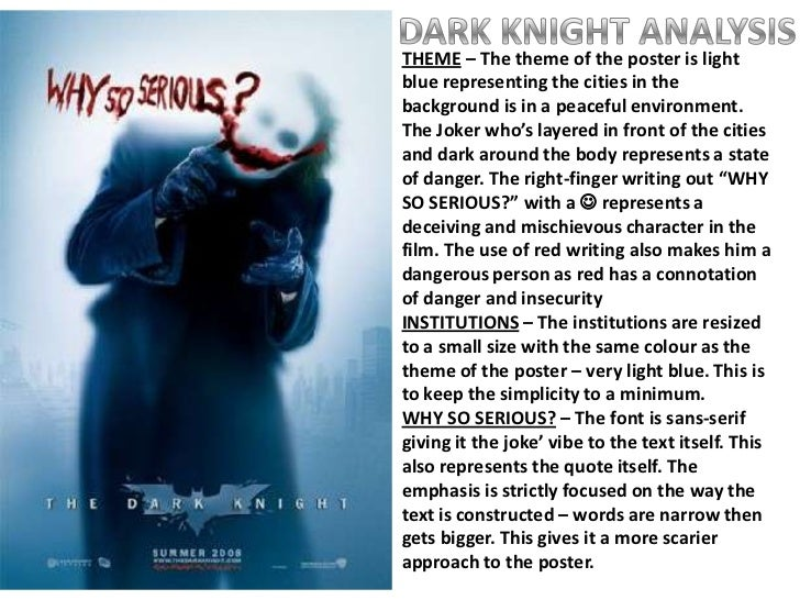 dark knight film analysis essay Study guide for the dark knight rises the dark knight rises study guide contains a biography of christopher nolan, literature essays, quiz questions, major themes, characters, and a full summary and analysis.