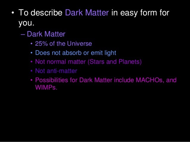 Dark Matter Physical Science Lesson Powerpoint