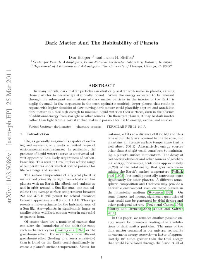Dark Matter And The Habitability of Planets                                                                               ...