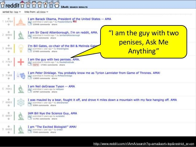 """http://www.reddit.com/r/IAmA/search?q=ama&sort=top&restrict_sr=on """"I am the guy with two penises, Ask Me Anything"""""""
