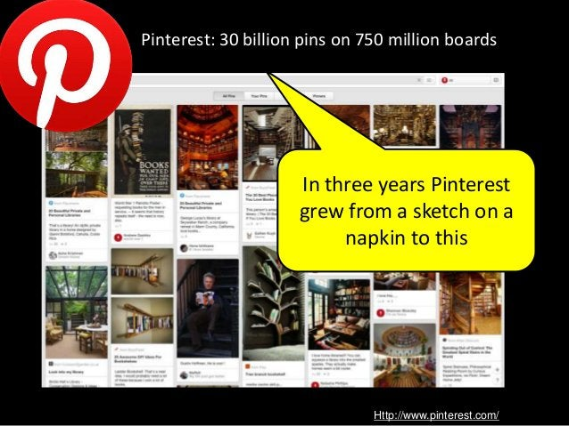 Http://www.pinterest.com/ Pinterest: 30 billion pins on 750 million boards In three years Pinterest grew from a sketch on ...